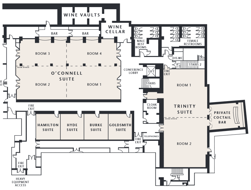 Black and White plan drawing of the Gresham Hotels Conference Centre