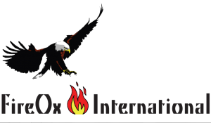 FireOx International's Logo ... showing the name in black text, with a black bird of prey about to attack the red flames of a fire at the centre.