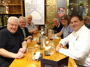 Colour Photograph of some of the 'SFE 2016 DUBLIN' Speakers and Chair Persons during Dinner on the evening of Thursday, 29 September 2016 ... at Yamamori Restaurant, Ormond Quay, Dublin ... beside the Ha'penny Bridge. Great food and wine, with lively conversation ... everybody was definitely having a good time !