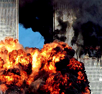 Colour photograph of an extreme real fire event - The 9/11 WTC attacks in New York City.
